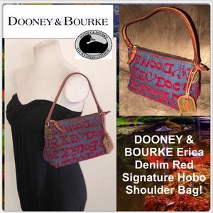 DOONEY & BOURKE Erica Denim Red Signature Hobo Bag